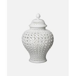 Biała Ceramiczna Waza Pierced L