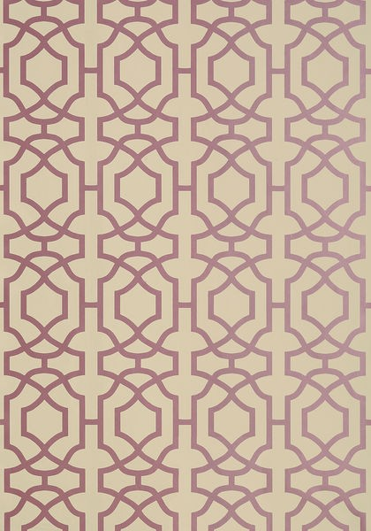 Alston Trellis Metallic Plum on Beige