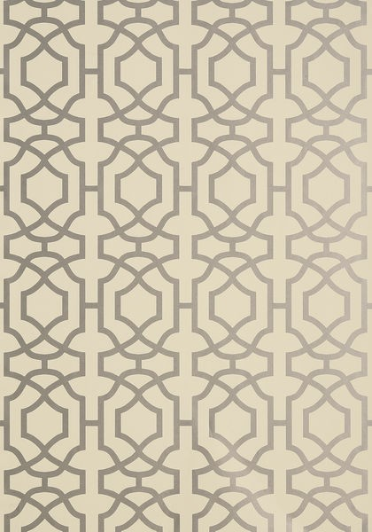 Alston Trellis Metallic Silver on Beige