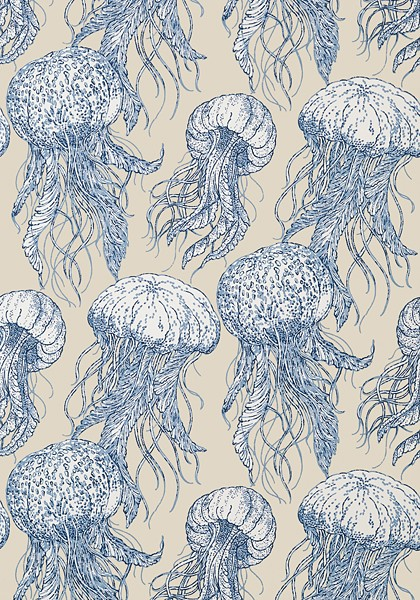 Jelly Fish Blue and Beige