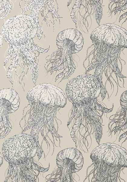 Jelly Fish Silver on Beige